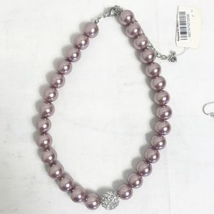 Large Pearl Diamond Costume Necklace Earrings